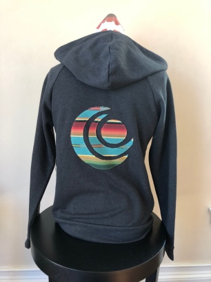 Zip-up hooded jacket women (back) $75