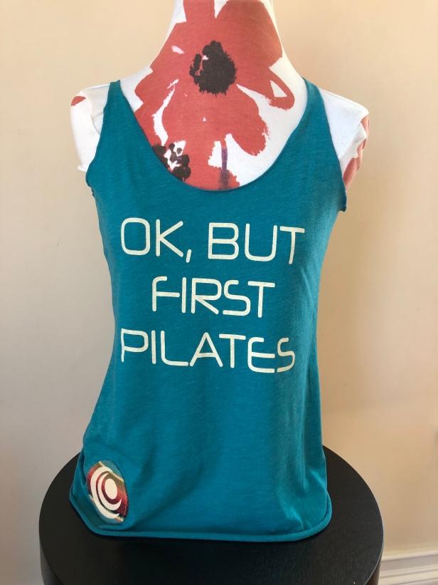 Ok, But First Pilates racerback tank top women (front) $36