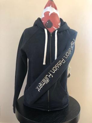Zip-up hooded jacket women (front) $75