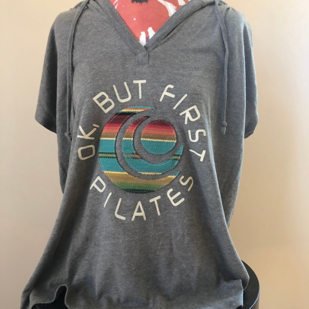 Ok, But First Pilates short sleeved light weight hoodie women (front) $55